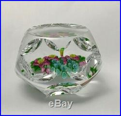 Trabucco Paperweight Faceted Clear Glass Floral Bouquet