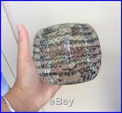 VENINI Pierre Cardin Murano Art Glass CUBE SCULPTURE Paperweight Bubbles Vintage
