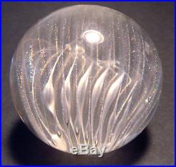 Vint. 2000 Veiled SWIRL Bubble RAINBOW Art Glass JOSH SIMPSON Clear PAPERWEIGHT