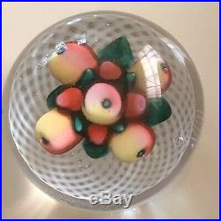 Vintage Antique Saint Louis New England Glass Co Fruit Latticinio Paperweight