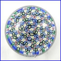 Vintage Art Glass Millefiori Murano Italy Paperweight Large Original Label