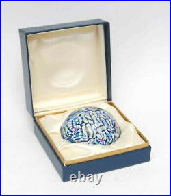 Vintage Baccarat Art Glass Paperweight Millefiori In Original Presentation Box