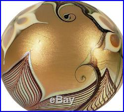 Vintage Iridescent Orient & Flume California Studio Art Glass Paperweight 1978