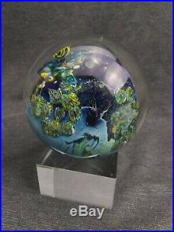 Vintage Josh Simpson Inhabited Planet 3-1/2 Art Glass Paperweight