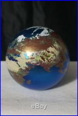 Vintage Lundberg Studios Iridescent World Globe Paper Weight Signed