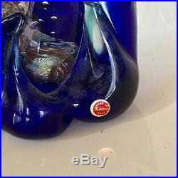 Vintage MCM MURANO Fish AQUARIUM Art Glass BLOCK Paperweight SCULPTURE Wave Base
