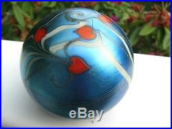Vintage ORIENT AND FLUME HANGING RED HEART/VINES PAPERWEIGHT Aqua Blue, 3,1976