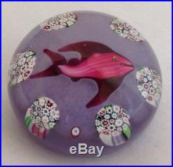 Vintage Paul Ysart Harland Fish & Millefiori Glass Paperweight