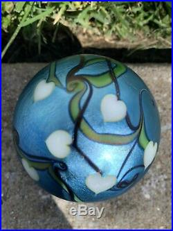 Vintage Signed 77 Orient & Flume Iridescent Paperweight