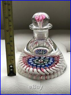 Vintage Whitefriars Walsh Millefiori Concentric paperweight inkwell bottle