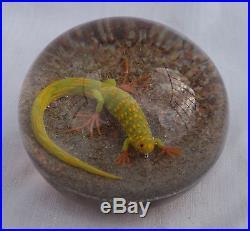 Vtg A. F. Carpenter Studio Glass Salamander Lizard Paperweight Renaissance Era