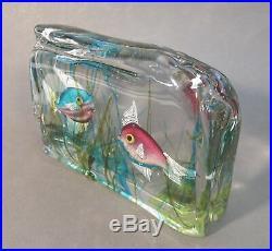 Vtg CENEDESE Italian Murano Art Glass FISH AQUARIUM BLOCK Sculpture Paperweight