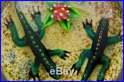 WILLIAM MANSON Double Lizards/Salamanders Art Glass Paperweight, Apr 2.75Hx3.5W